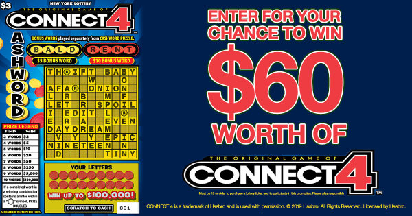 None -  Enter For Your Chance To Win $60 Worth Of Connect 4™ Cashword Scratch-Off Tickets