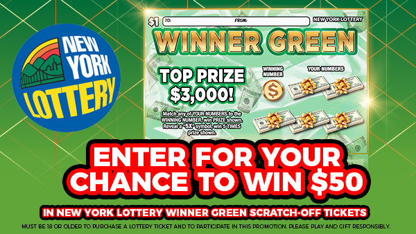 None - Enter For Your Chance To Win $50 in Winner Green Scratch-Offs from NY Lottery!