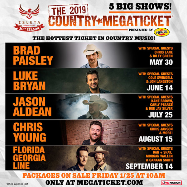 None - Win A Pair of 2019 Country Megatickets - 5 Big Shows!