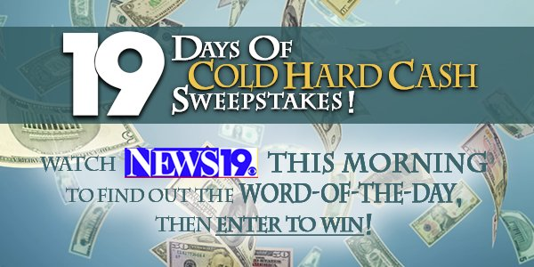 Cold Hard Cash Sweepstakes!