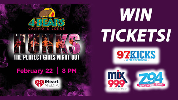 None - Win tickets to the HUNKS Show at 4 Bears Casino!