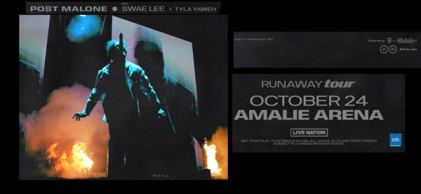 None - Tickets to Post Malone Runaway Tour @ Amalie Arena on 10/24!