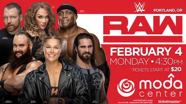 None -  WWE Monday Night Raw - 2/4/19 @ Moda Center