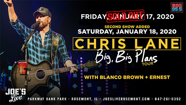 None - Win Tickets: Chris Lane at Joe's Live on 1.18.20!