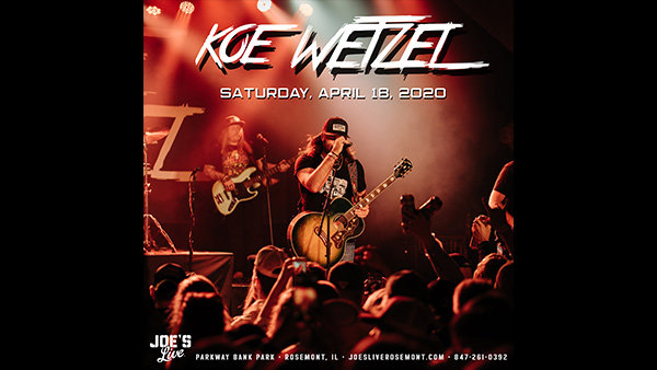 image for Win Tickets: Koe Wetzel at Joe's Live on 4.18.20
