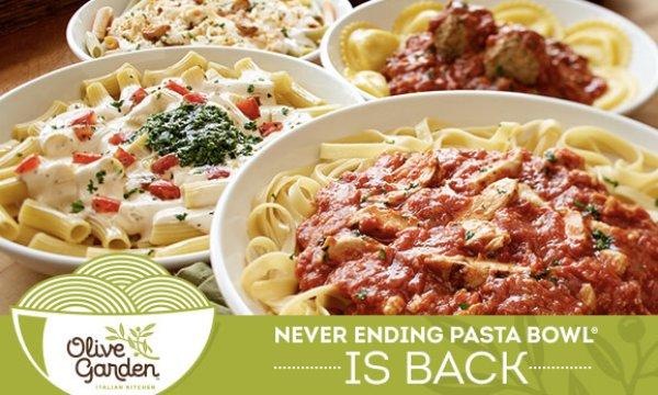 olive garden never ending pasta bowl giveaway - Olive Garden Pasta