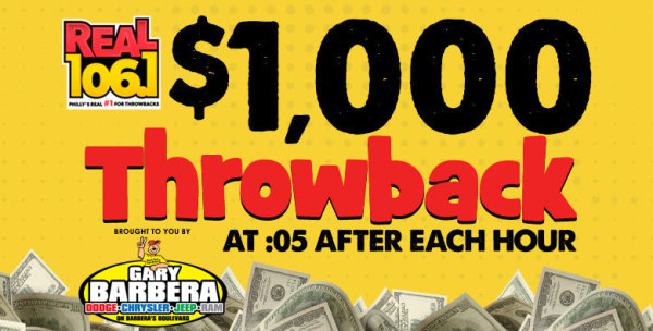 None -  $1,000 Throwback on Real 106.1