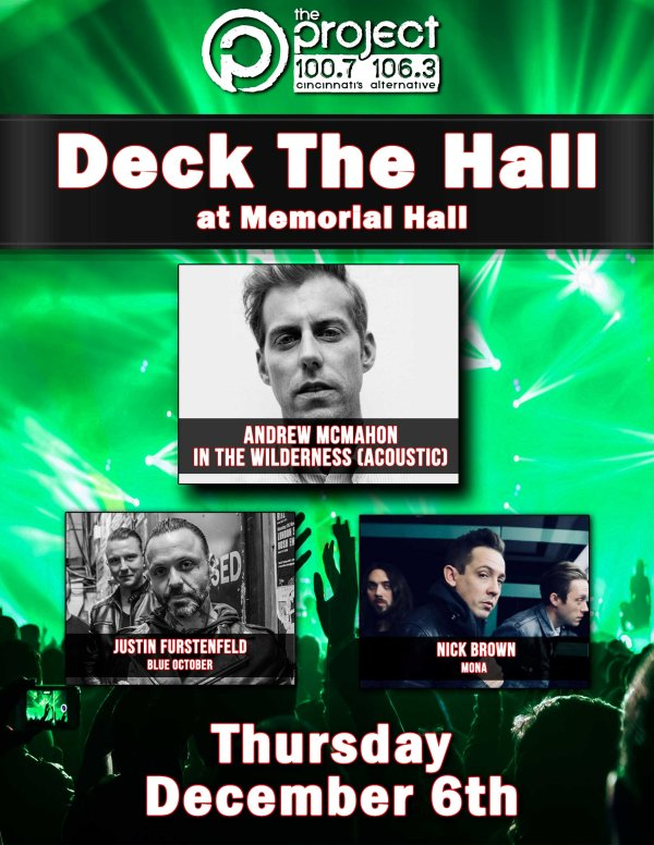 None - Win a pair of tickets to The Project 100.7/106.3's Deck The Hall, featuring Andrew McMahon!