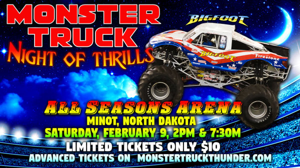 None - Register to win tickets to see Monster Truck Thunder!