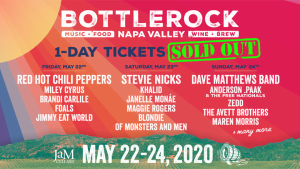 None - Enter For A Chance To Win 1-Day Passes To The SOLD OUT BottleRock Napa Valley!