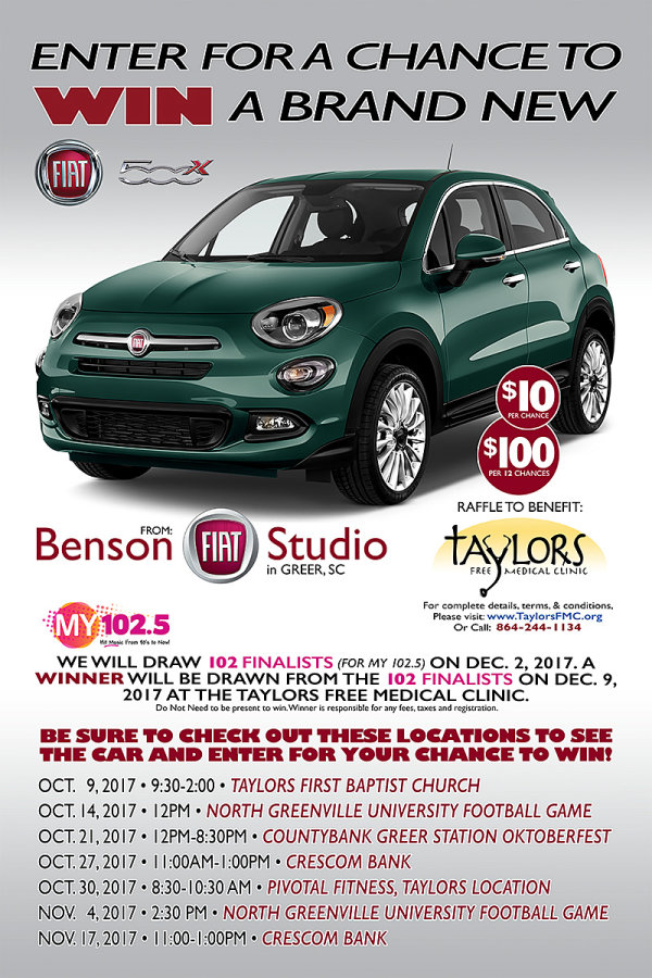 Enter For A Chance To Win A Benson FIAT X Benefiting Taylors - Fiat promotion