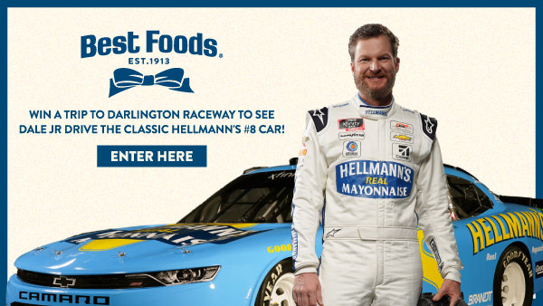 None - Win A Trip To Darlington Raceway To See Dale Jr Drive The Classic Hellmann's #8 Car!