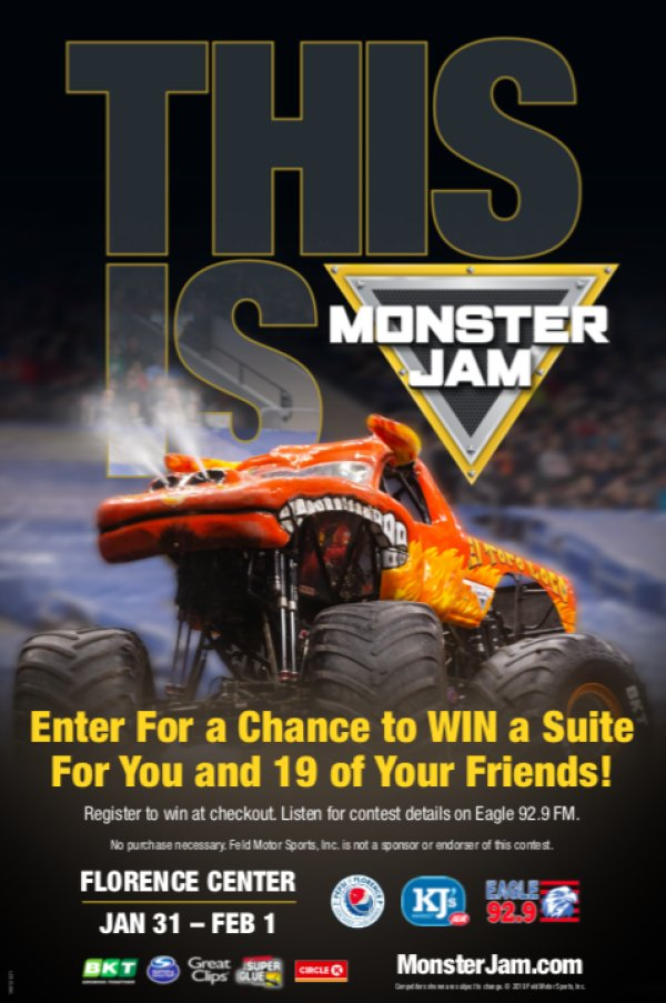 None - Win 20 tickets to Monster Jam at the Florence Center!