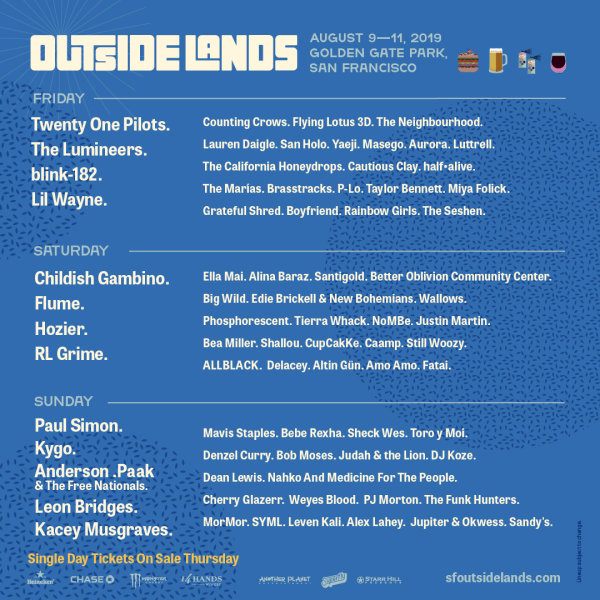 None - Enter for a chance to win a pair of Single Day tickets to Outside Lands!