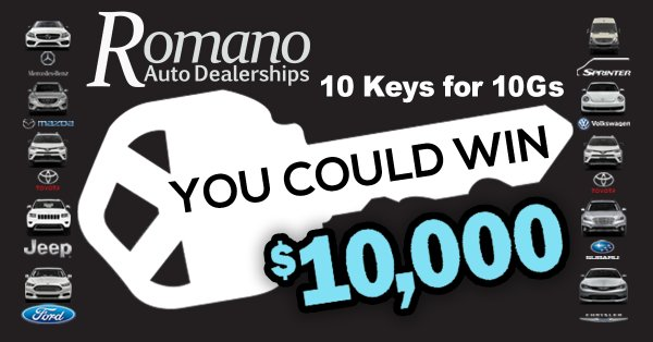 None -  Win Your Shot At $10,000 From The Romano Auto Dealerships!