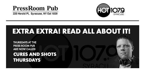 None -  Join Us For Cures & Shots Thursdays At The Press Room Pub & Win Prizes!