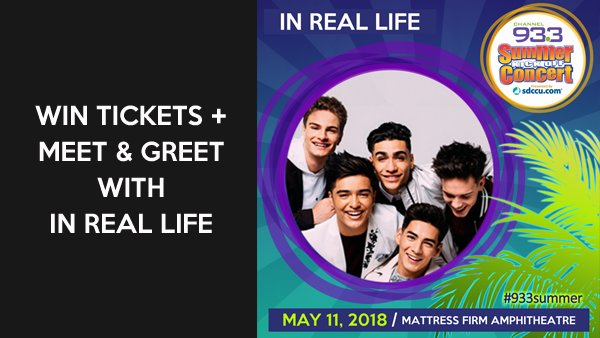 Meet in real life at channel 933 summer kick off concert meet in real life and grab a pic at channel 933s summer kick off concert presented by sdccu at mattress firm amphitheatre on friday may 11th m4hsunfo