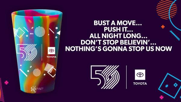 None - Blazers 50th Season 80's Decade Night Pint