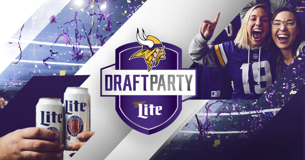 None - Register to win tickets to the 2019 Miller Lite Vikings Draft Party!