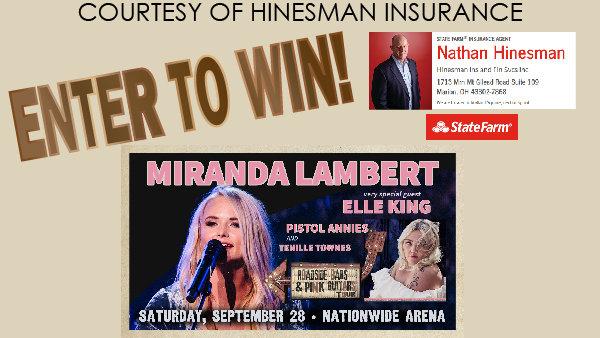 None - Miranda Lambert giveaway courtesy of Hinesman Insurance