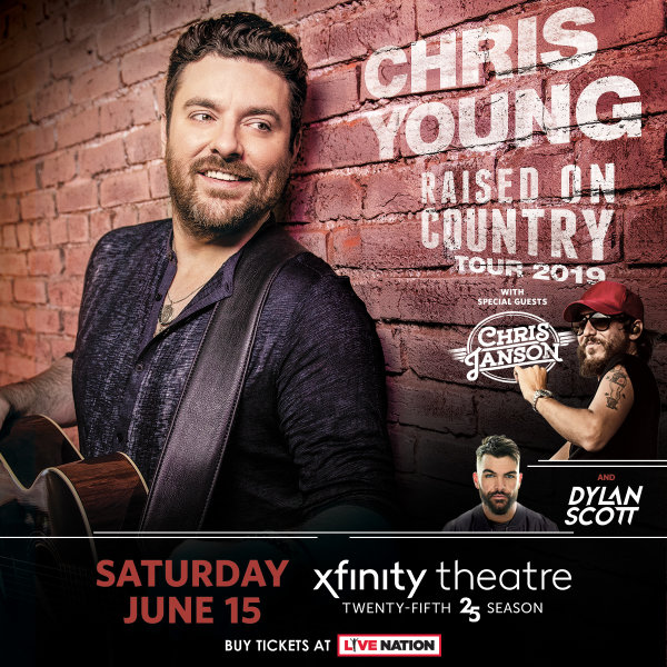None -  Enter to win a pair of LAWN tickets to Chris Young with Chris Janson and Dylan Scott at the Xfinity Theatre on Saturday, June 15th!