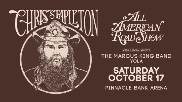 image for Win a pair tickets to see Chris Stapleton All American Road Show at the Pinnacle Bank Arena in Lincoln on Saturday, October 17th.