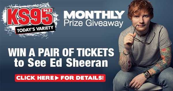 Win a pair of tickets to see ed sheeran ks95 945 todays variety this promotion ended dec 31st 1159 pm enter to win a pair of tickets to see ed sheeran m4hsunfo Image collections
