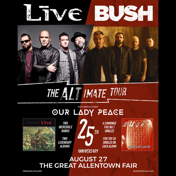 None - Win Tickets To See +LIVE+ and Bush at the Great Allentown Fair 8/27!