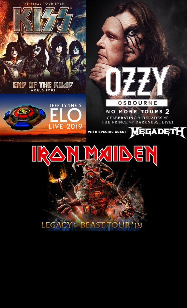 None - Win a pair of tickets to all FOUR shows ... KISS / ELO / OZZY OSBOURNE and IRON MAIDEN!