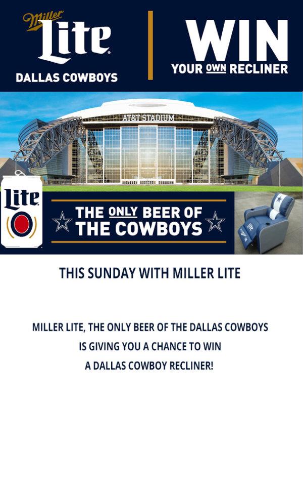 Win a Miller Lite Dallas Cowboys Recliner  sc 1 st  KJ 97 - iHeartRadio & Win a Miller Lite Dallas Cowboys Recliner | Contest | KJ 97 islam-shia.org