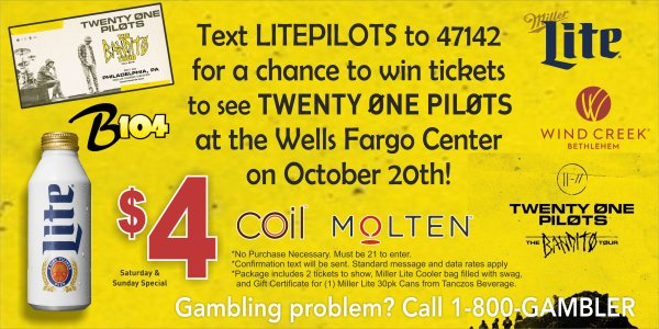 None - AMOE: Win Twenty-One Pilots Tickets/Miller Lite Cooler with Swag!