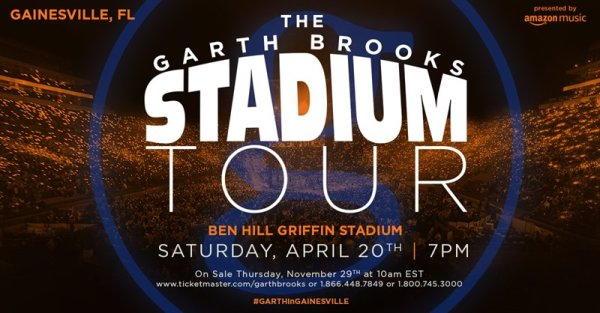 None - Win tickets to Garth's Stadium Tour!
