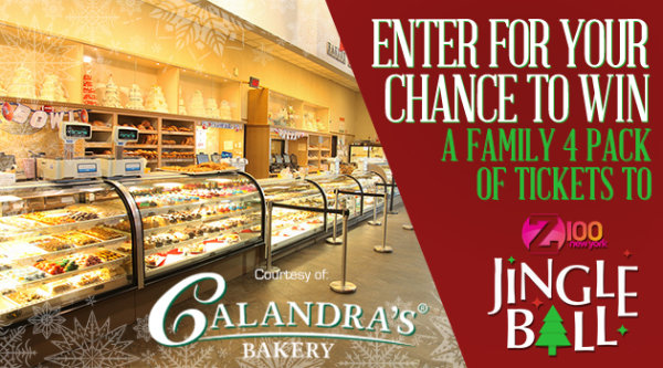 None - Enter for your chance to win a family 4 pack of tickets to Z100's Jingle Ball courtesy of Calandra's Bakery