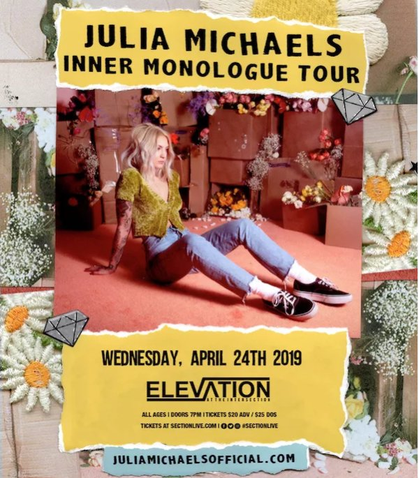 None - Win last chance to see Julia Michaels at the Intersection April 24th!