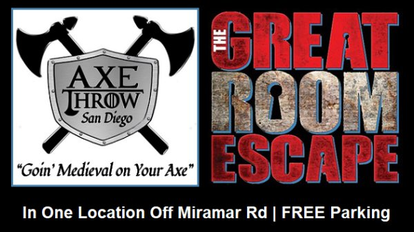 None - Win Passes to Axe Throw San Diego or Great Room Escape San Diego