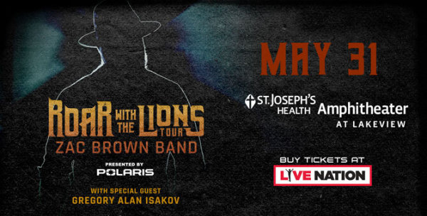 None - Win tickets to Zac Brown Band At St. Joseph's Health Amphitheater!