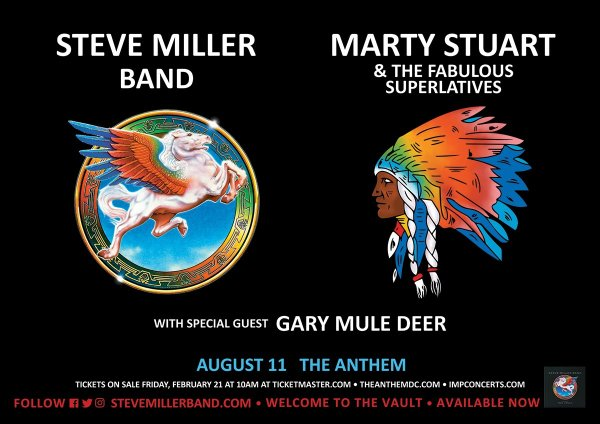 image for Win Tickets to see Steve Miller Band at the Anthem on August 11th, 2020!