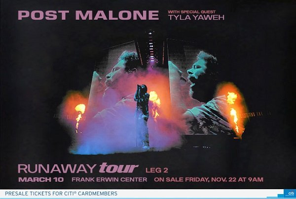 None - Win a pair of tickets to see Post Malone at the Frank Erwin Center!