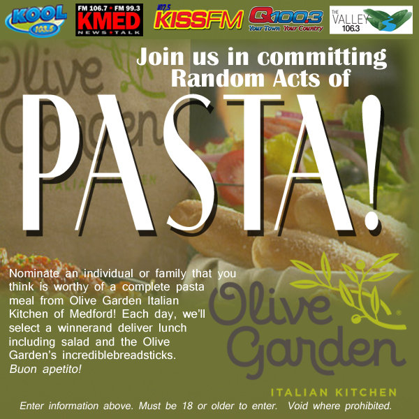 nominate an individual or family that you think is worthy of a complete pasta meal from olive garden italian kitchen of med - Olive Garden Medford
