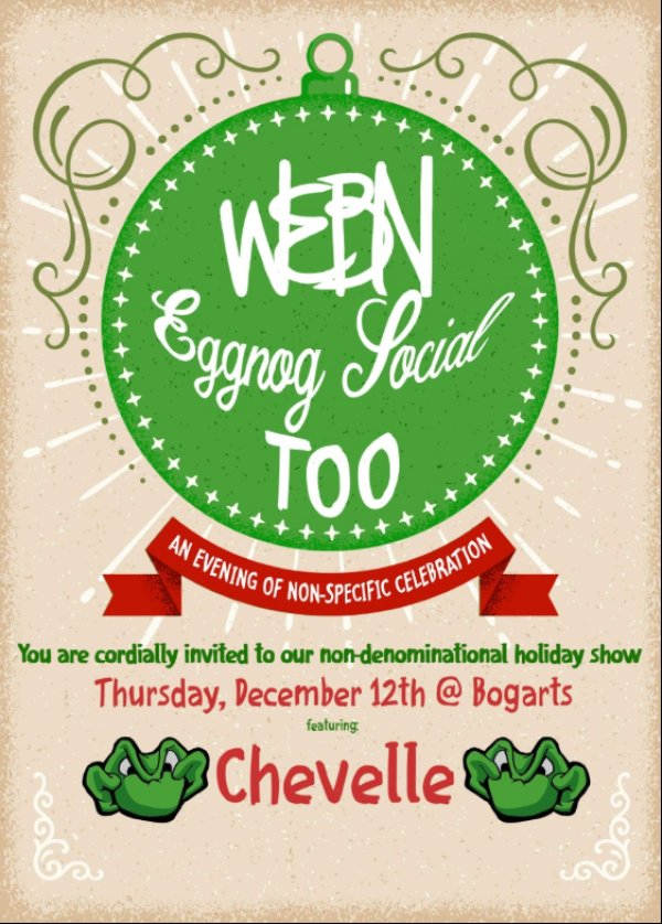 None - Win Tickets to WEBN's Eggnog Social Too with Chevelle!