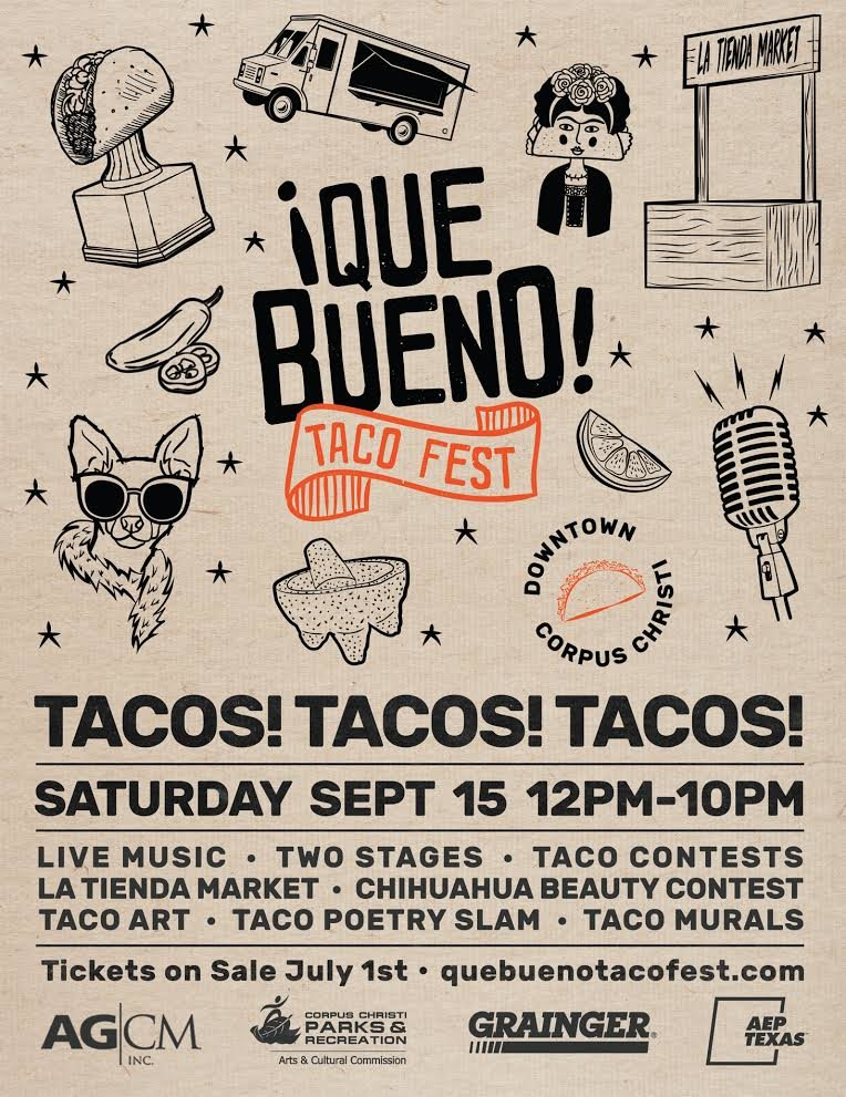 Register to win que bueno taco fest vip passes c101 que bueno taco fest highlights tacos plus the creative arts live music and mexican culture of corpus christi being a vip means m4hsunfo
