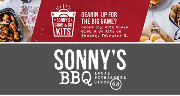 None - Win a 'Grab & Go Kit' from Sonny's BBQ for the BIG GAME!