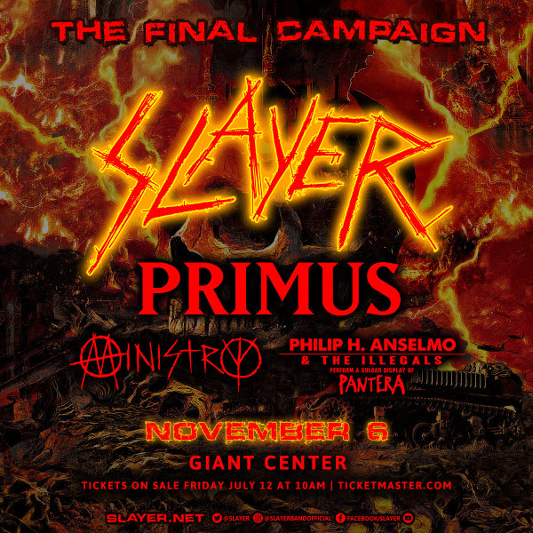 None - Slayer at the Giant Center 11/6!