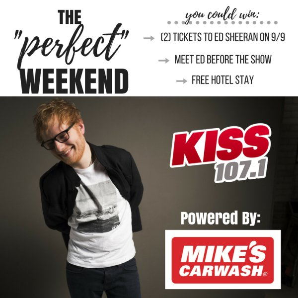 The perfect weekend getaway kiss 1071 enter to win tickets to see ed sheeran at ford field plus a meet and greet with ed m4hsunfo Image collections