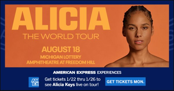 None - Win tickets to see Alicia Keys