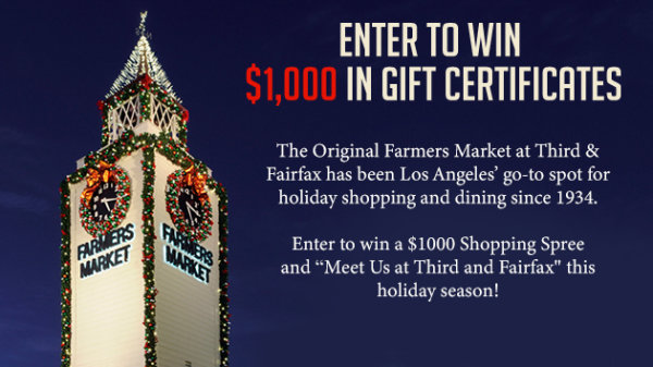 None - Enter To Win $1,000 in Gift Certificates From The Original Farmers Market