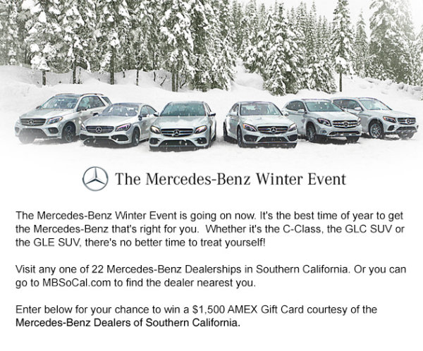 Win A AMEX Gift Card From MercedesBenz Dealers Of Southern - Mercedes benz dealerships in southern california