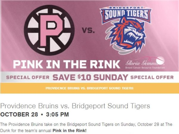 None - Providence Bruins Pink in the Rink!